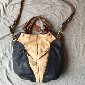 Leather OrYANY Crossbody Bag Blue Tan